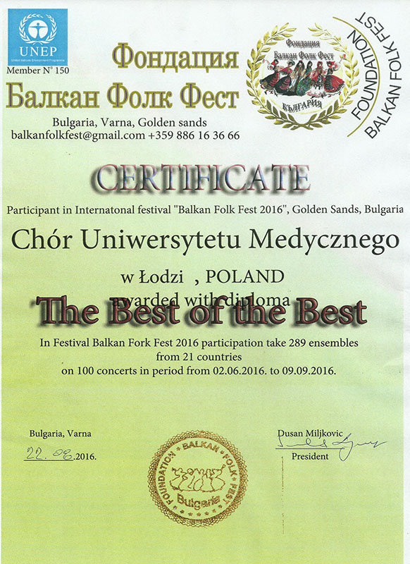certyfikat best of the best chor um